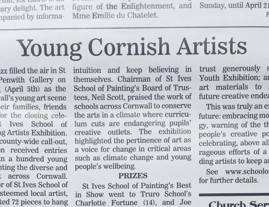 Porthmeor Young Artists Competition 2019
