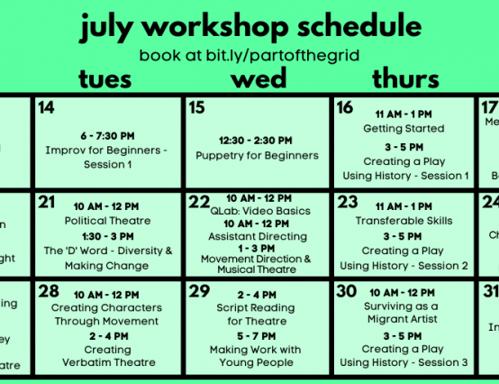 Part of the Grid - July workshops from Part of the Main